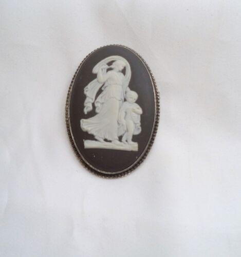 Vintage Wedgwood Black Jasperware Large Cameo Pin Sterling Silver