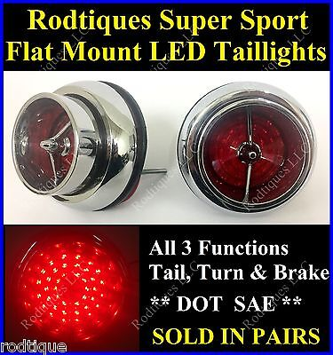 Flat Mount Red LED Taillights Turn Signal Brake Light Running Lights SS63 - 2