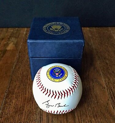 George W  Bush Presidential Seal Signed Genuine White House Gift Baseball