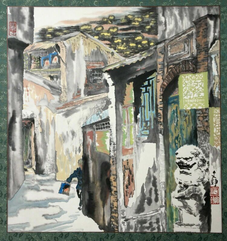 Large Chinese watercolor signed twentieth, lively street, Asian Arts