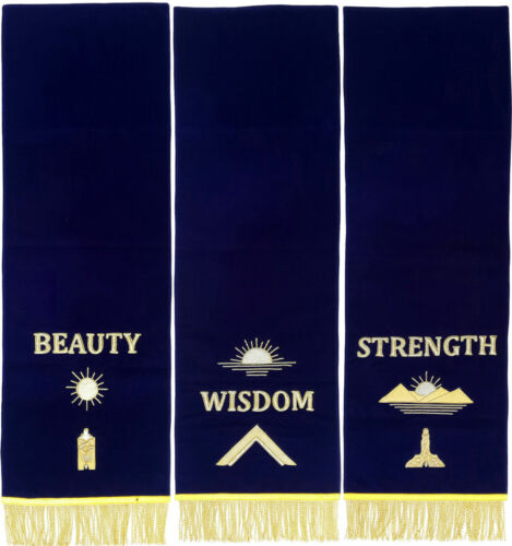MASONIC BLUE LODGE PEDESTAL COVERS - SET OF THREE HAND EMBROIDERED--3106