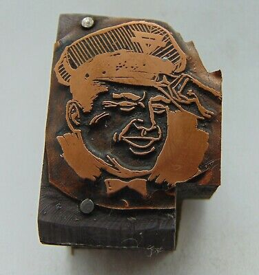 Printing Letterpress Printers Block Conoco Service Gas Station Worker