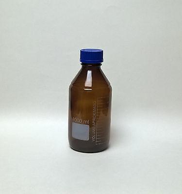 Reagent Bottle 1000ml Amber Borosilicate Glass Culture Media Jar Autoclavable