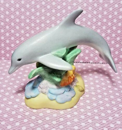 VTG DOLPHIN WITH CORAL FIGURINE TREASURY OF DOLPHINS  LENOX NO BOX HANDCRAFTED