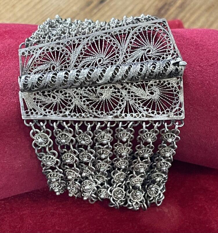 Vintage Turkish Silver Filigree Chain Bracelet Turkey Middle Eastern