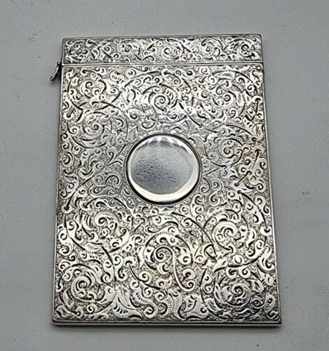 NICE LARGE ANTIQUE STERLING SILVER CARD CASE SAMPSON MORDAN LONDON 1889