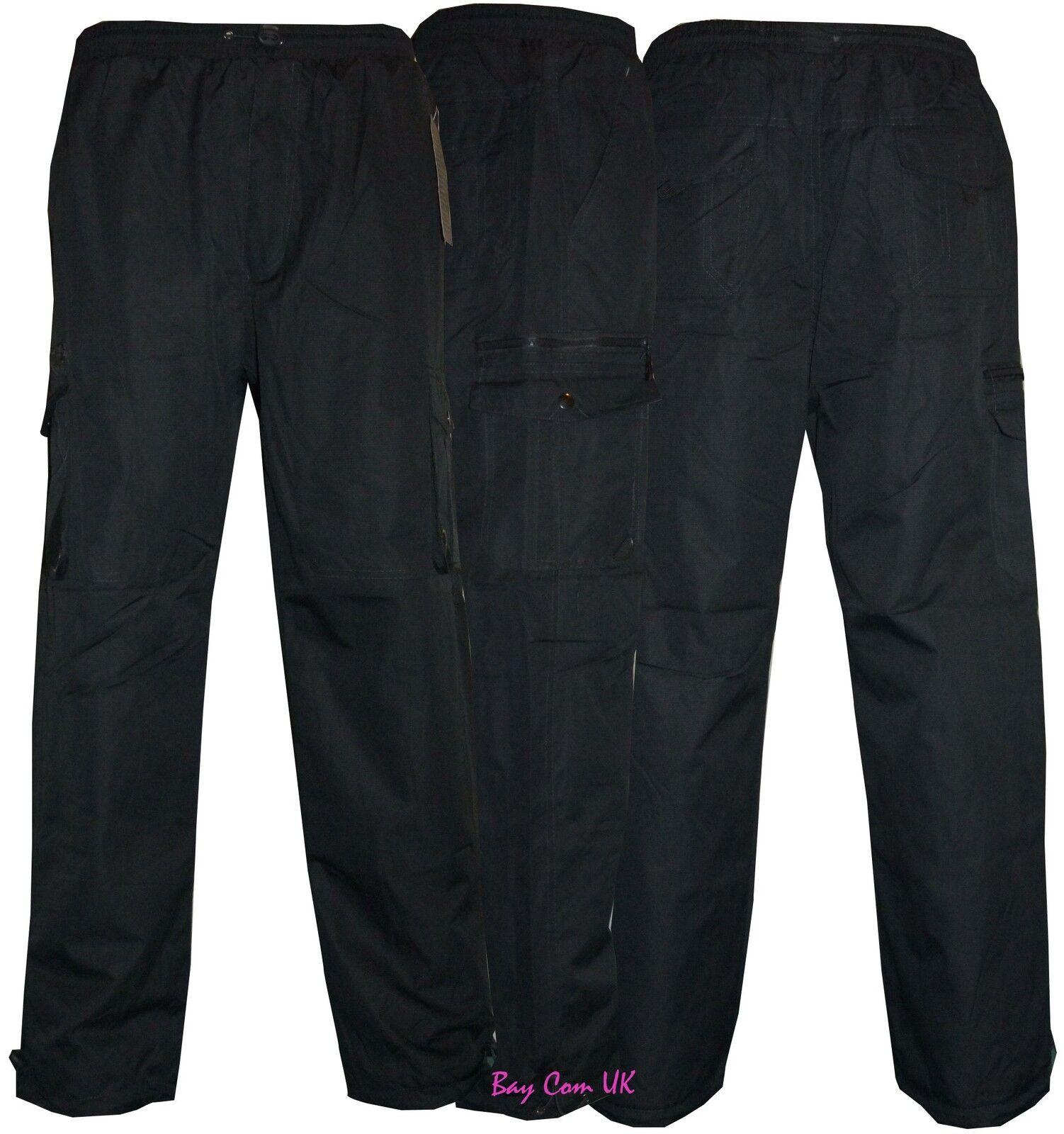 a55d8fdd9fb01 Mens Elasticated Fleece Lined Thermal CargoCombat Trousers Pants Fishing  Hunting