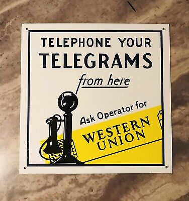 Western Union 2 Sided metal Flange Sign Telegrams Telegraph Enameled Vintage OLD