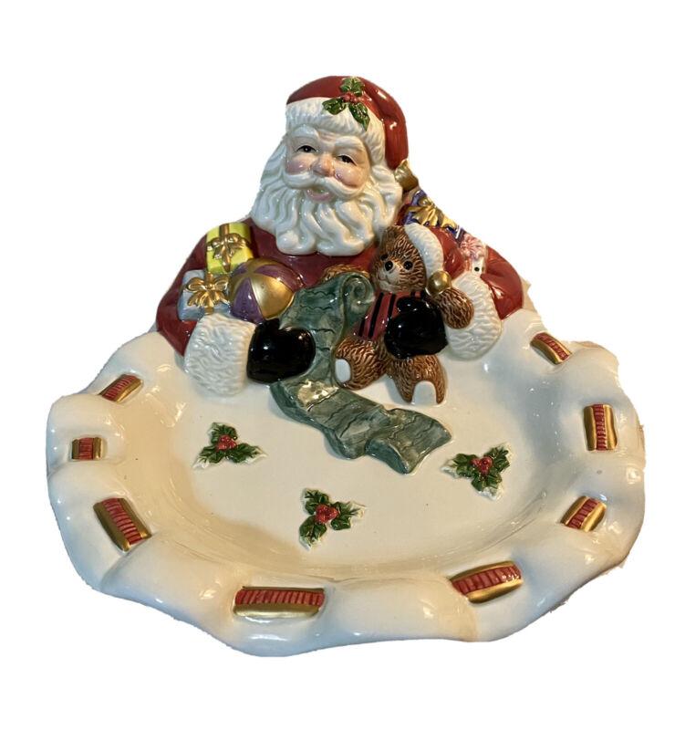 Fitz & Floyd Christmas Santa Teddy Bear Toys Candy Cookie Dish Home Fragrance