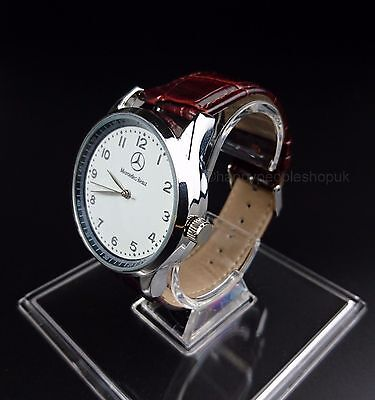 Mercedes Benz Mens Watch Stainless Steel Brown Leather Strap - White Face