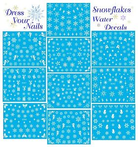 Snowflakes-Water-Decal-Transfer-Nail-Stickers-Christmas-White-Elsa-Frozen