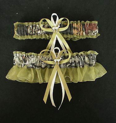 Mossy Oak Green Wedding Garter Set Camouflage Camo Deer Hunting Hunter - Camo Garter Set