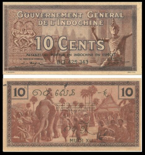 FRENCH INDOCHINA 10 CENTS 1939 P 85 aUNC