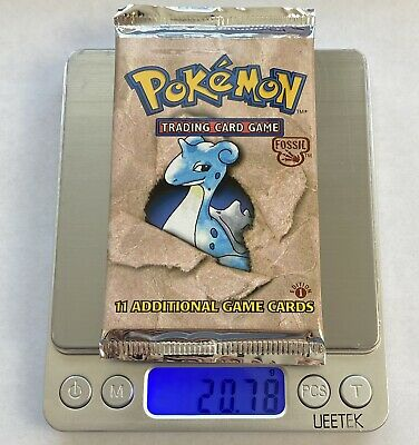 VIDEO WEIGHED Pokemon 1st Edition Fossil Booster Pack Sealed - BOX FRESH