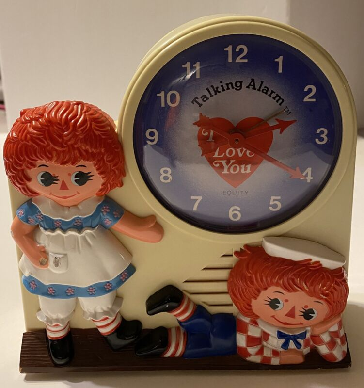 Vintage 1974 Raggedy Ann and Andy Windup Talking Alarm Clock