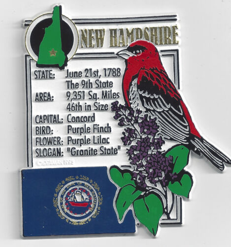 NEW HAMPSHIRE  STATE MONTAGE FACTS MAGNET CONCORD state  bird flower  and flag,