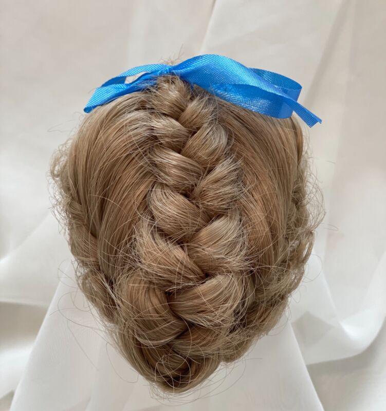 """7/8""""  Updo Braid Bow Blonde Doll Wig Reborn OOAK BJD Bisque Repair ALLISON"""