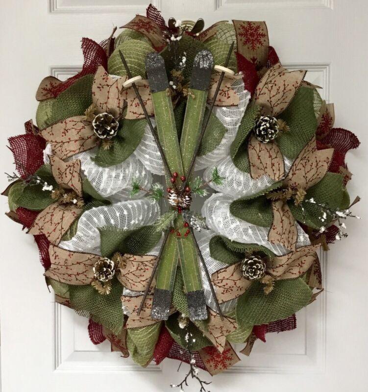 Winter Deco Mesh And Burlap Ski Wreath Handmade