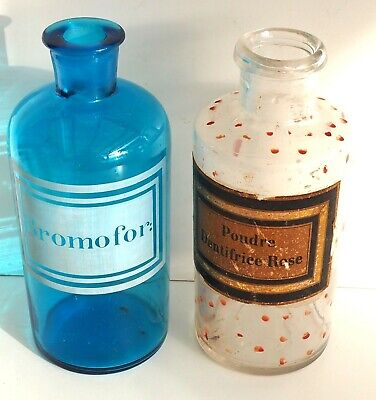 two BEAUTIFUL French  TIMEWORN GLASS APOTHECARY CHEMISTS BOTTLES