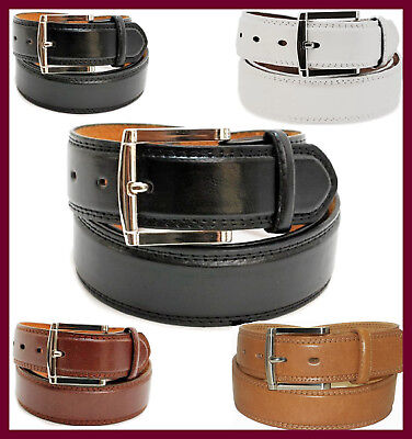 Men's Leather Casual / Dress Belt Classic Double-Stitched Edge  (Double Stitch Leather Belt)