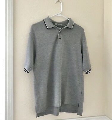 Tri Mountain Mens Polo Golf Shirt Gray Casual Short Sleeve Quick Drying Large