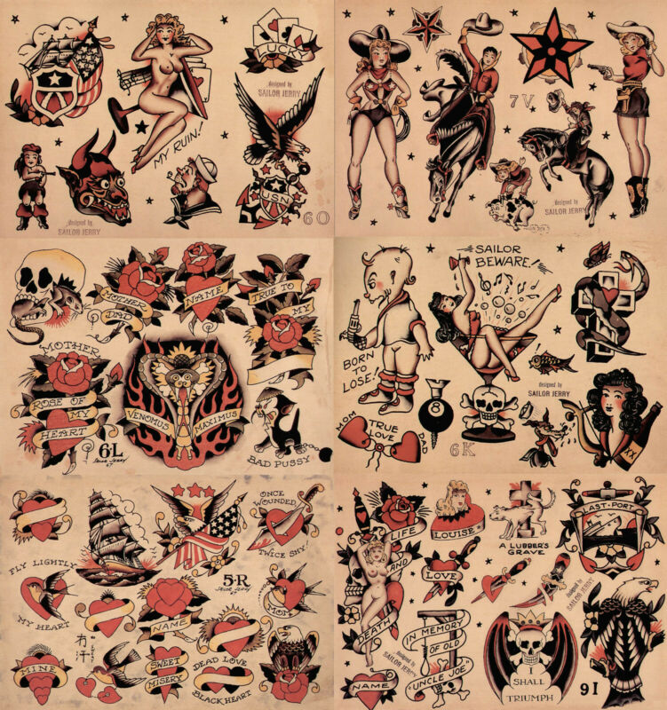 """Sailor Jerry Traditional Vintage Style Tattoo Flash 6 Sheets 11x14"""" Old School 1"""