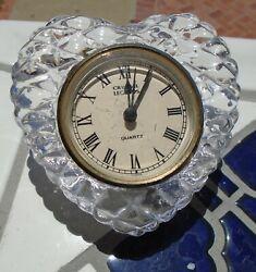 Clock Crystal Glass Quartz Heart Shaped Godinger Crystal Legends Desktop