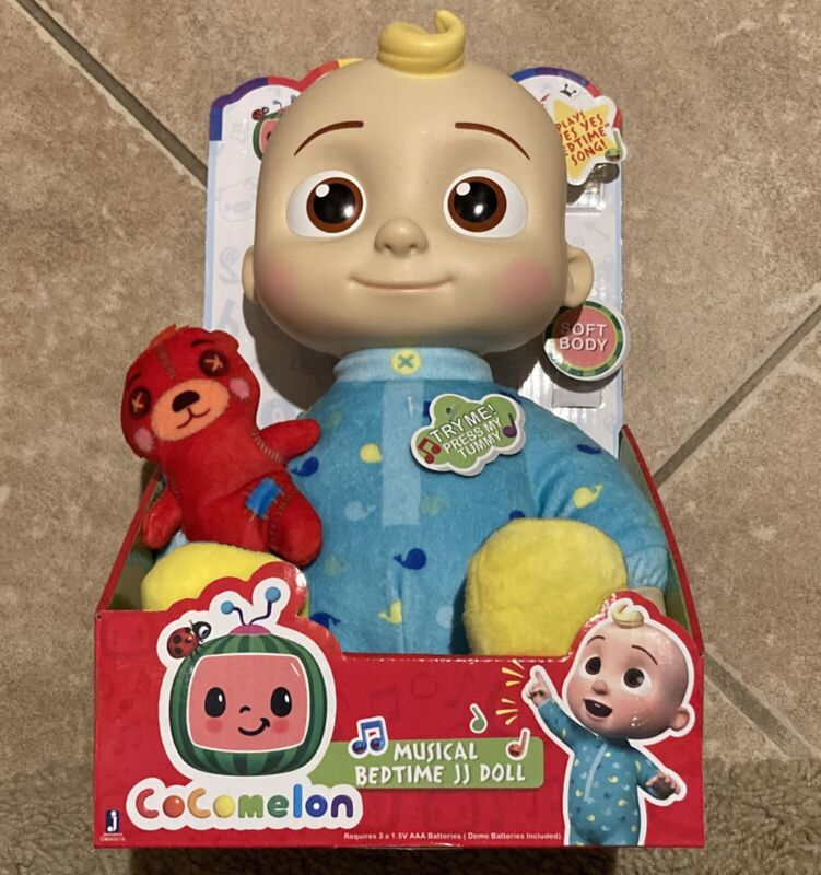 "Cocomelon JJ Doll Plush Musical Bedtime 10"" Soft Toy & Bear Netflix *SHIPS FAST*"