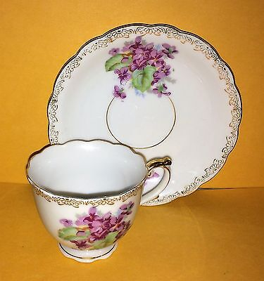 Vintage Gold trim / purple Flowers Made In Japan Demitasse Cup and Saucer