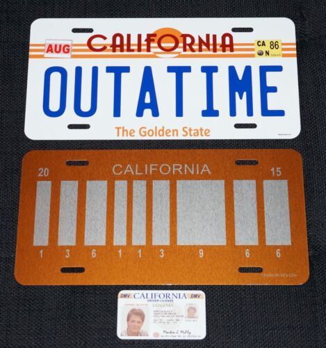 BACK TO THE FUTURE License Plates (2) w/ Marty McFly License - Michael J. Fox