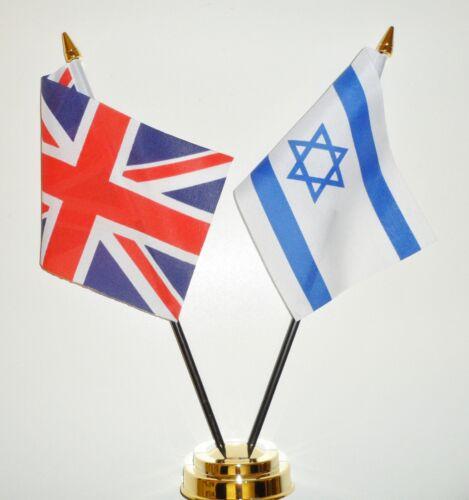 United Kingdom & Israel Double Friendship Table Flag Set