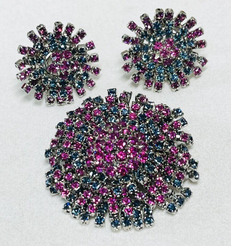 Vintage Signed Alice Caviness Rhinestone Fringe Brooch & Earrings Set Fuchsia