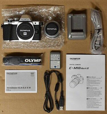 Used Olympus OM-D E-M10 Mark II Mirrorless Digital Camera w/ 14-42mm Lens Silver