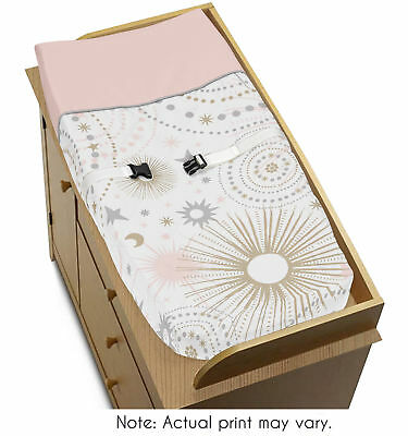 Jojo Changing Table Pad Cover For Pink Grey Gold Celestial Crib Baby Bedding Set