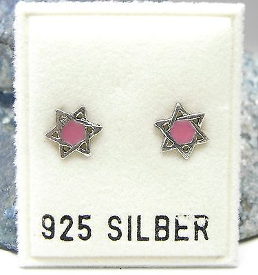 NEU 925 Silber OHRSTECKER DAVIDSTERN in rosa/silber OHRRINGE Earrings STERN