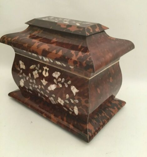 SALE  $725  =  Antique Mother of Pearl and Faux Tortoise Double Tea Caddy