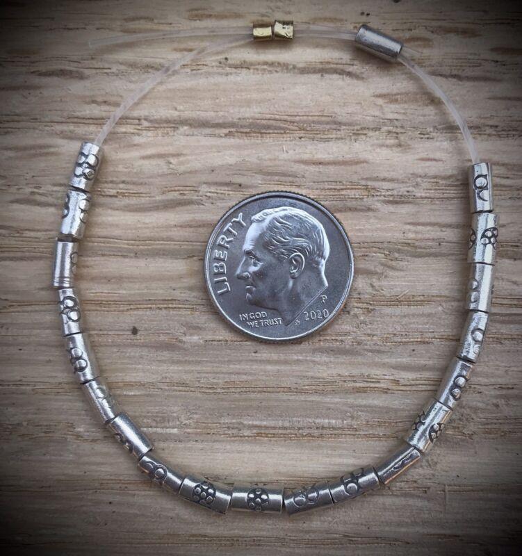 20 Hill Tribe Silver Daisy Tube Beads