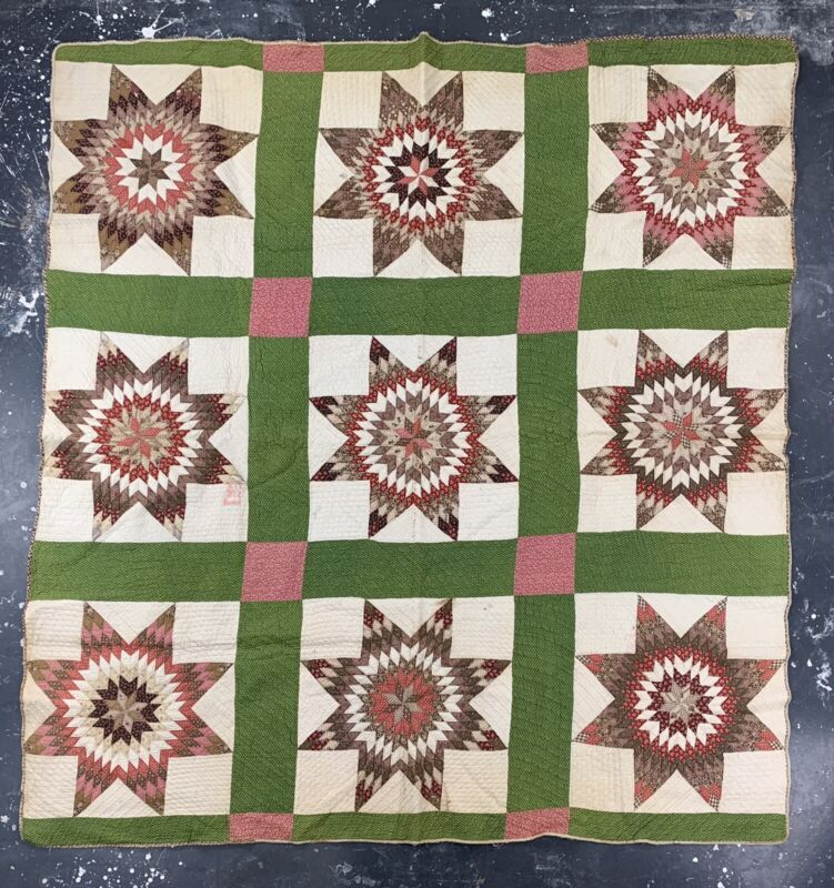 Antique Pieced Stars Quilt Homemade Signed Family American 1800s Vtg Civil War