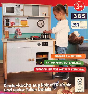 Holz Kinderküche Spielküche höhenverstellbar inkl. Zubehör Kochtopf Pfanne