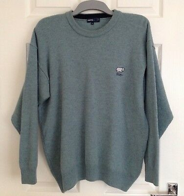 Hippo Golf Clothing Green 100% Lambswool Crew Neck Jumper, Size M