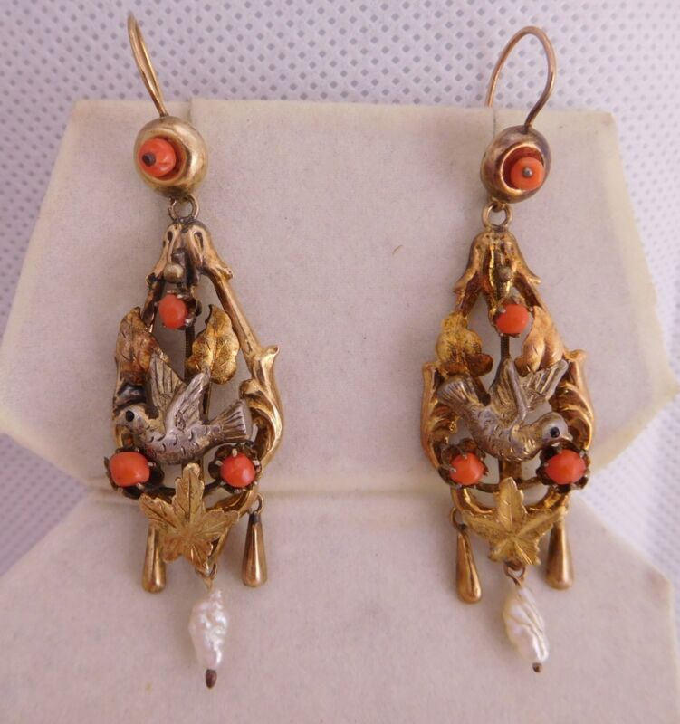 VICTORIAN 14K SOLID YELLOW GOLD CORAL STONE LOVE DOVE BIRD PEARL DANGLE EARRINGS
