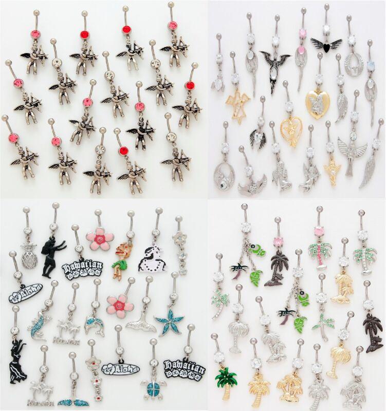 50 All Different Fancy Dangle Belly Rings WHOLESALE Lot Body Jewelry Piercings