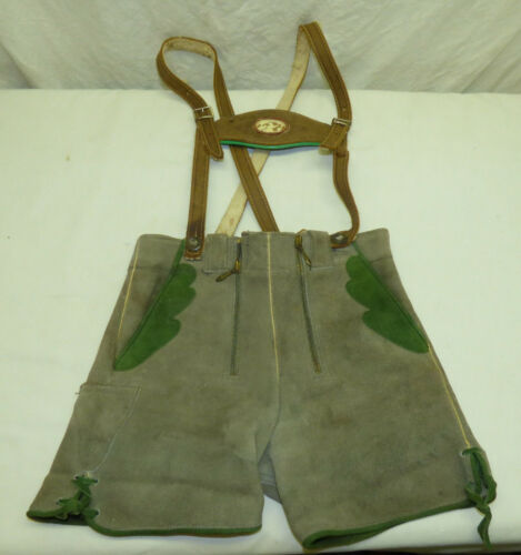 "Vtg German Child Boy Gray Leather Short Lederhosen Bavaria Oktoberfest 23"" Waist"