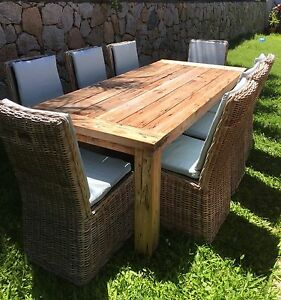 8 Seater Wooden Outdoor Dining Table & Chairs Birkdale Redland Area Preview