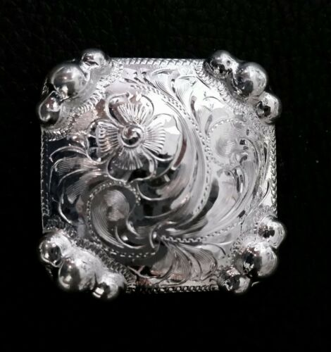"""1"""" Square Silver Hand Engraved Concho w/Graduated Beads"""