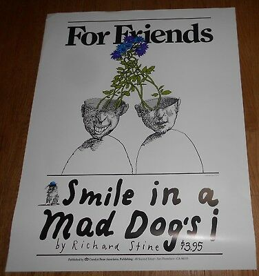 1974 Vintage Richard Stine Poster -  For Friends - Smile in a Mad Dog's i