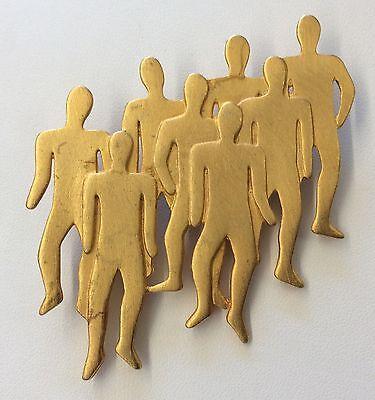 So Neat    Jj 1988 Vintage Signed Matte Costume Goldtone Male Figures Brooch