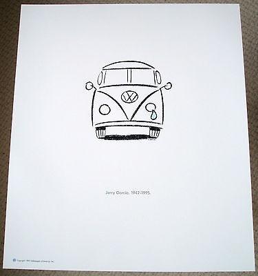 Vintage Jerry Garcia Grateful Dead VW Volkswagen Rock Music Memorabilia Art AD