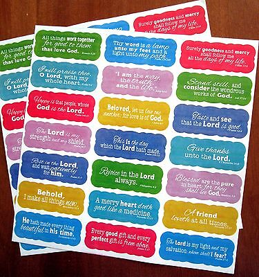 New 42 Inspirational Colorful Scripture Stickers Acid Free 21 Bible Verses  - Bible Craft