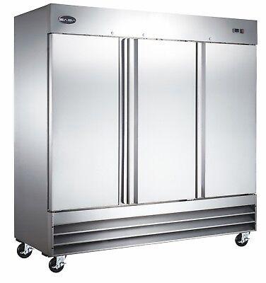 Saba Commercial Upright Freezer Stainless Steel Freezer Storage 3 Solid Doors